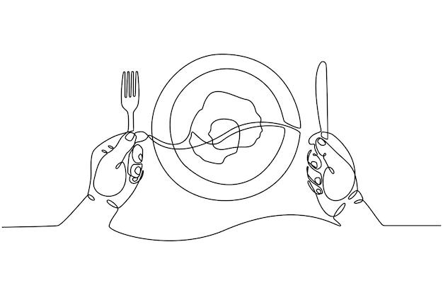 Ilustração em vetor conceito comer prato de ovo frito desenho de linha contínua