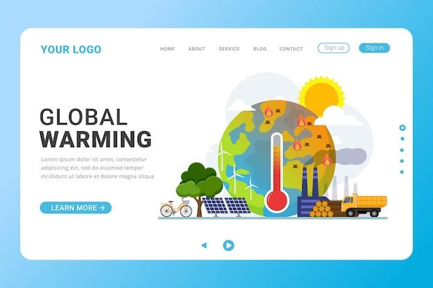 Ilustração em vetor conceito de design de aquecimento global modelo de página de destino