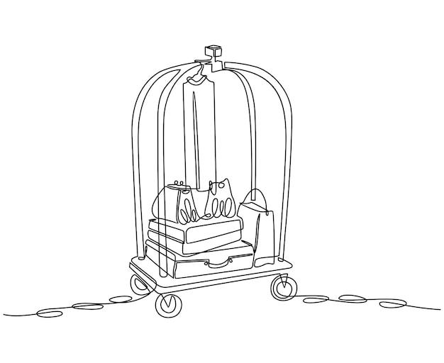 Ilustração em vetor conceito de hotel transportadora de bagagem desenho de linha contínua