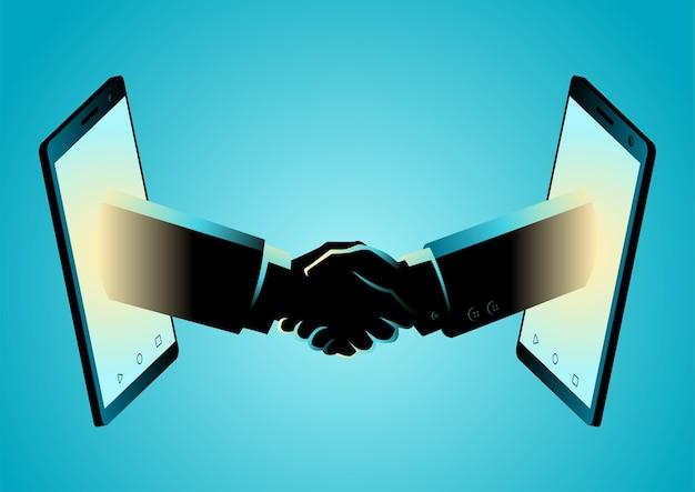 Ilustração em vetor conceito de negócio de acordo comercial por meio de telefone inteligente
