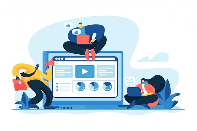 Ilustração em vetor conceito de serviços de marketing de conteúdo