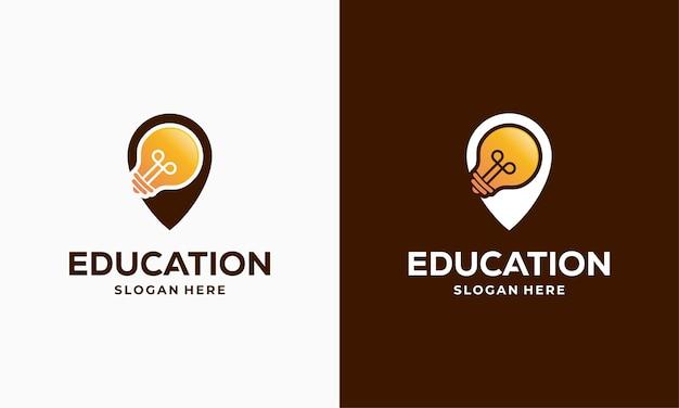 Ilustração em vetor conceito design de logotipo do education point, modelo de ícone de símbolo de logotipo do centro de aprendizagem