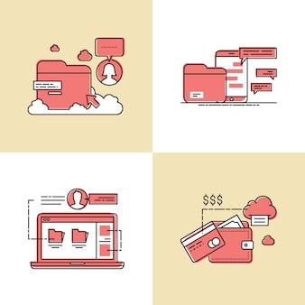 Ilustração em vetor conceito design fluxo de débito e crédito