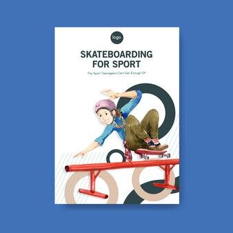 Ilustração em vetor conceito design skate.