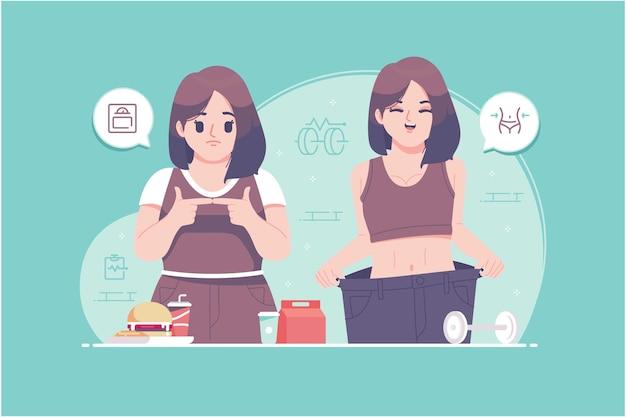 Ilustração em vetor conceito dieta saudável