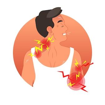 Ilustração em vetor conceito dor músculos