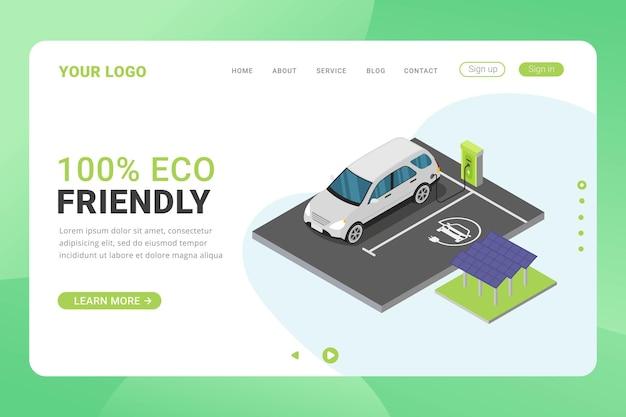 Ilustração em vetor conceito eco energia modelo de página de destino