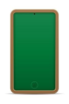 Ilustração em vetor conceito educação on-line telefone lousa escolar isolada no fundo branco
