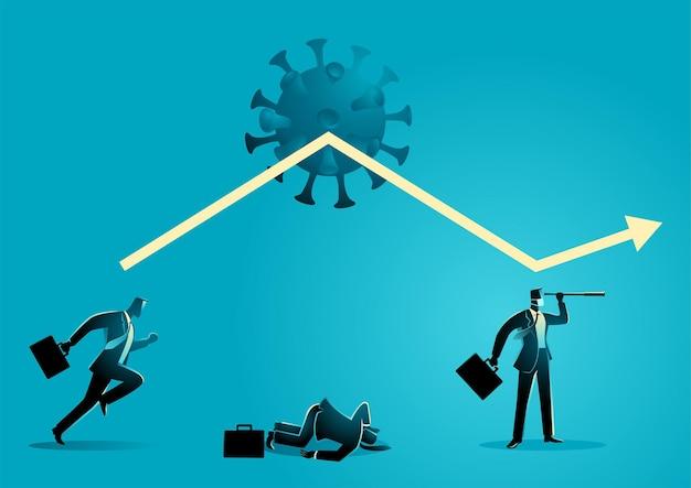 Ilustração em vetor conceito empresarial de desafio empresarial e otimismo durante a pandemia, infográfico de negócios