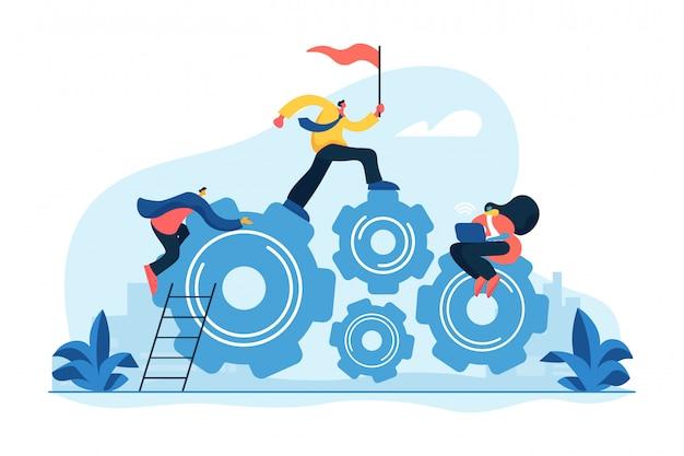 Ilustração em vetor conceito equipe dedicada
