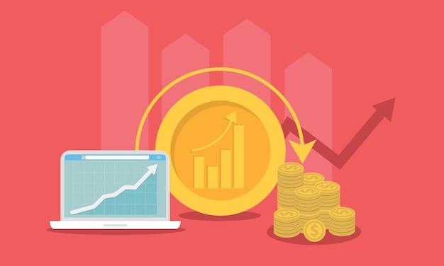Ilustração em vetor conceito investimento. marketing de negócios de roi. estratégia de lucro ou resultado financeiro