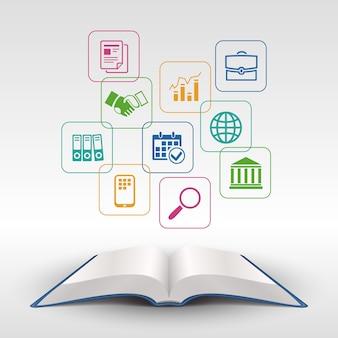 Ilustração em vetor conceito livro aberto de educação empresarial