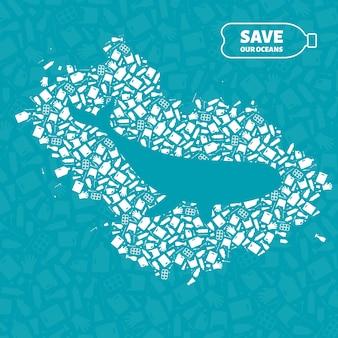 Ilustração em vetor conceito plástico desperdício oceano ambiente problema. contorno de mamífero do oceano de baleia
