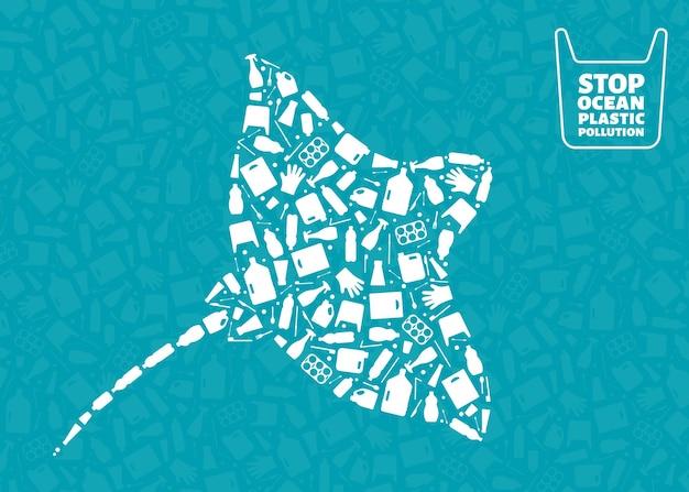 Ilustração em vetor conceito poluição planeta lixo microplástico. contorno de peixes marinhos de arraia