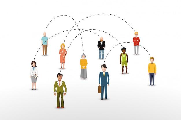 Ilustração em vetor conceito rede pessoas conexão social