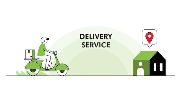 Ilustração em vetor conceito serviço de entrega