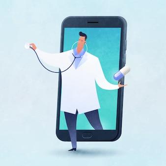 Ilustração em vetor conceito telemedicina e telessaúde com um médico carrega uma pílula saindo de um smartphone.