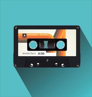 Ilustração em vetor conceito vintage retrô cassete fita plana
