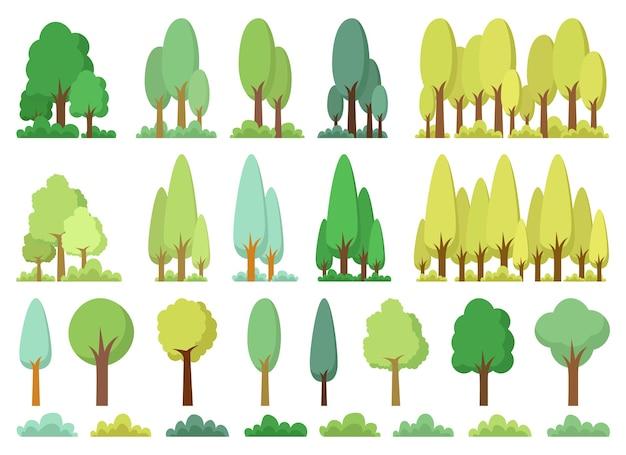Ilustração em vetor conjunto árvore isolada no fundo branco