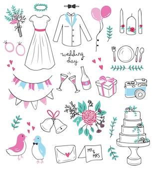Ilustração em vetor conjunto casamento doodle