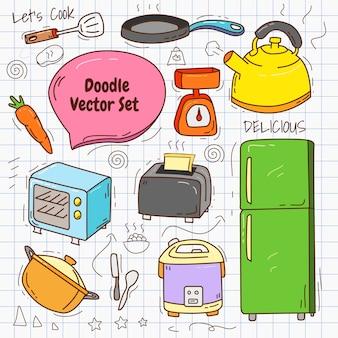 Ilustração em vetor conjunto de doodle de cozinha