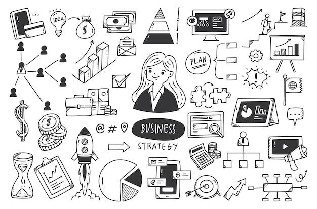 Ilustração em vetor conjunto de doodle de estratégia de negócios