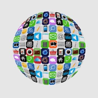 Ilustração em vetor conjunto de ícones de aplicativos