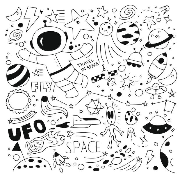 Ilustração em vetor conjunto espaço doodle