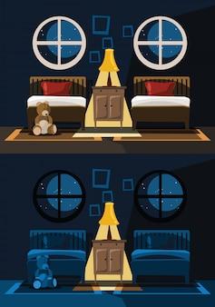 Ilustração em vetor conjunto interior quarto