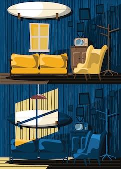 Ilustração em vetor conjunto interior sala de estar