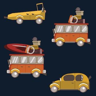 Ilustração em vetor conjunto viagem carro