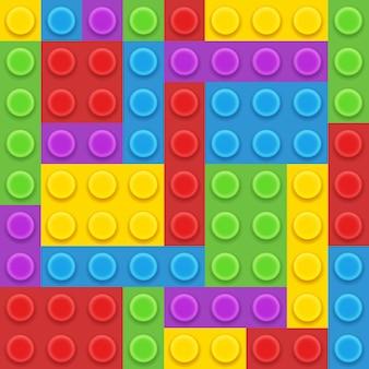 Ilustração em vetor construtor de plástico com 5 blocos de cores