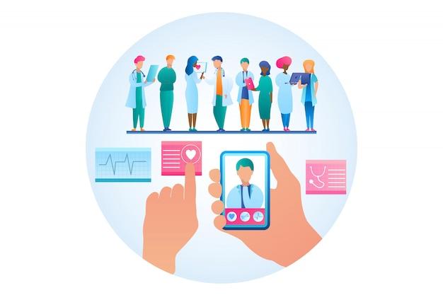 Ilustração em vetor consulta on-line médico