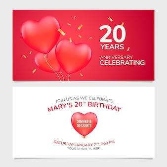 Ilustração em vetor convite para aniversário de 20 anos