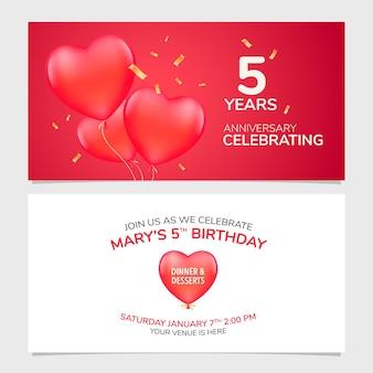 Ilustração em vetor convite para aniversário de 5 anos
