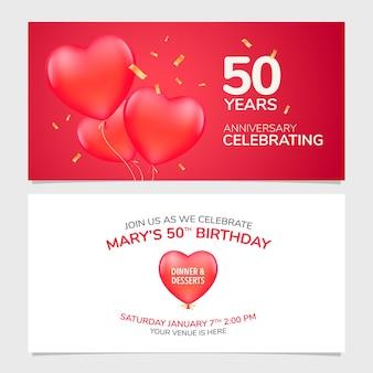 Ilustração em vetor convite para aniversário de 50 anos