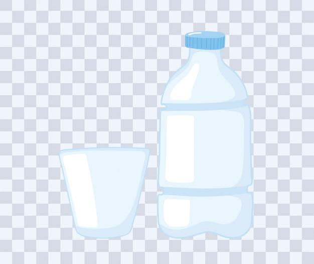Ilustração em vetor copo de plástico ou vidro, garrafa descartável e copo