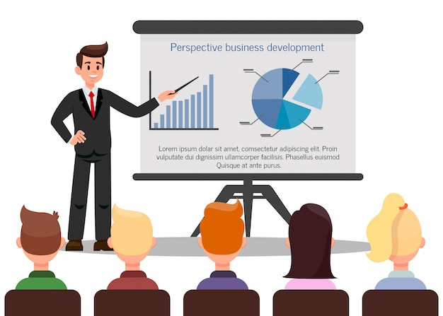 Ilustração em vetor cor confiante treinador empresarial