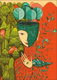 Ilustração em vetor cor da deusa da mãe natureza