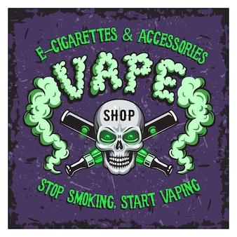 Ilustração em vetor cor de fumaça de vapor e cigarros eletrônicos.