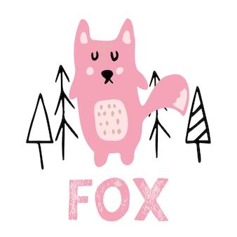 Ilustração em vetor cor desenhada à mão com uma linda raposa rosa e árvores