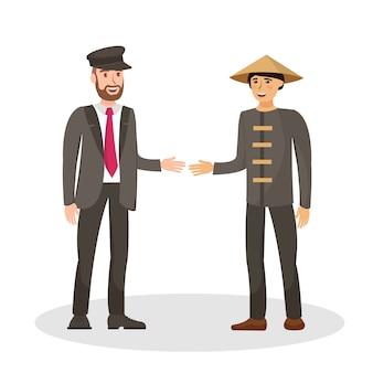 Ilustração em vetor cor estrangeira amigos plana