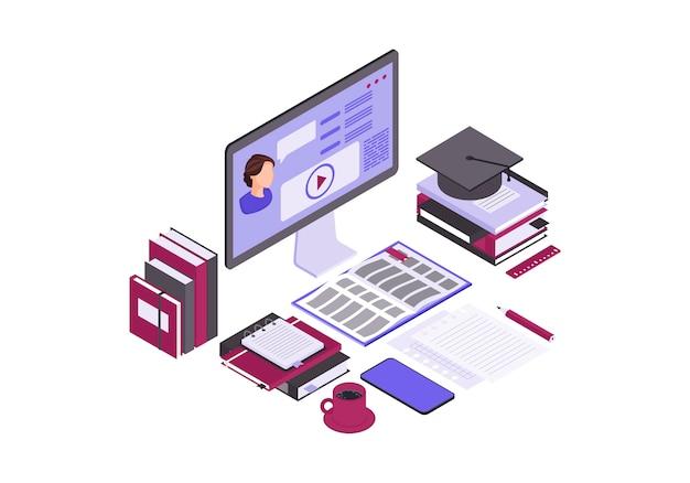 Ilustração em vetor cor isométrica de educação on-line