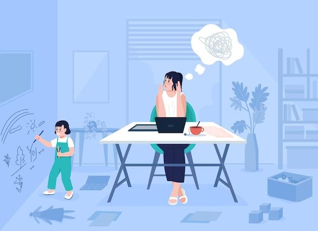 Ilustração em vetor cor lisa de estresse de mãe trabalhadora. kid desenho na parede. problema com trabalho remoto. desafios de mãe solteira. personagens de desenhos animados 2d para família com o interior da casa no fundo