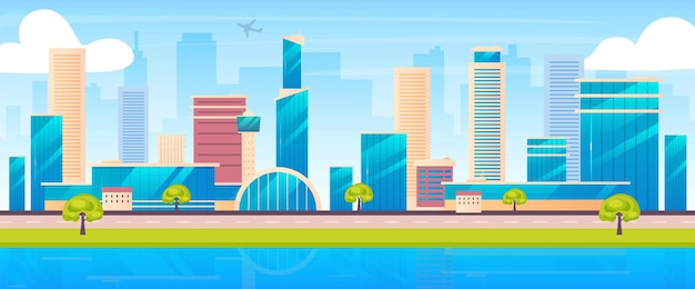 Ilustração em vetor cor plana horizonte da cidade. paisagem dos desenhos animados 2d da metrópole com arranha-céus no fundo. arquitetura urbana moderna. centro comercial, bairro residencial, panorama do centro