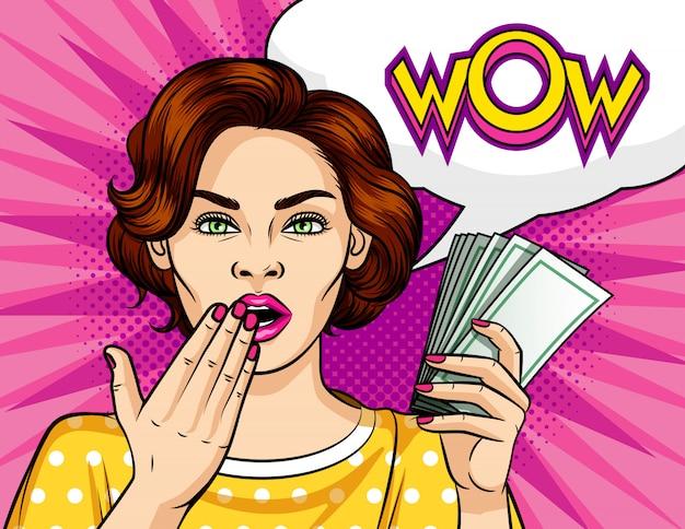 Ilustração em vetor cor pop art estilo. a uma garota com um maço de dinheiro.