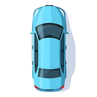 Ilustração em vetor cor rgb sedã azul semi plana. transporte para viagem rodoviária. automóvel hatchback na rua da cidade. vista superior do objeto de desenho animado isolado de veículo pessoal em fundo branco