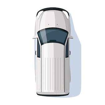 Ilustração em vetor cor rgb sedan cinza semi plana. transporte rodoviário. viagem com automóvel. hatchback automático na rua. vista superior do objeto de desenho animado isolado de veículo pessoal em fundo branco
