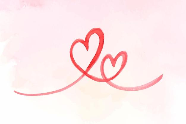 Ilustração em vetor coração dia dos namorados com pincelada