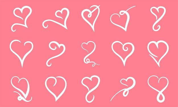 Ilustração em vetor corações desenhados à mão conjunto de elementos de design